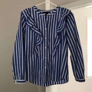 Jcrew Blue and White Striped Top